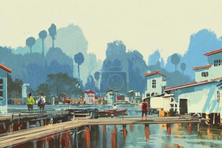 landscape painting of river village