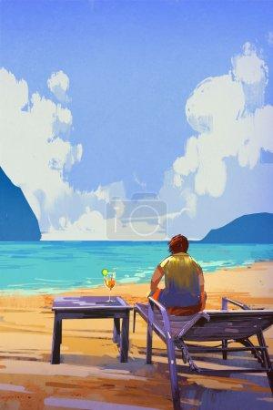 man sitting on deckchair at the beach