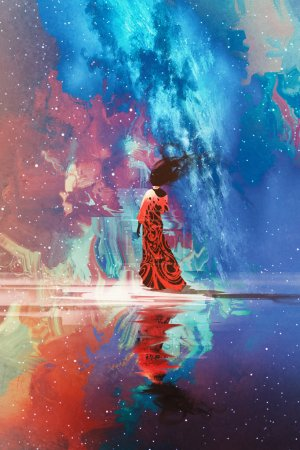 woman standing on water against universe filled