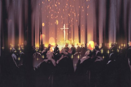 Photo for Mourning,funeral,people attend a vigil and light candles in the forest,illustration - Royalty Free Image