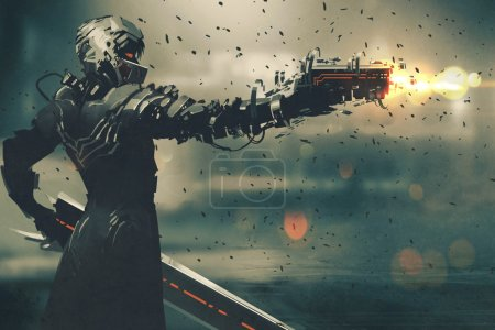 Photo for Sci-fi gaming character in futuristic suit aiming weapon,shooting gun,illustration digital painting - Royalty Free Image