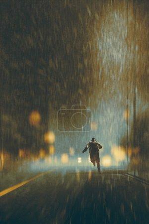 man running in heavy rainy night