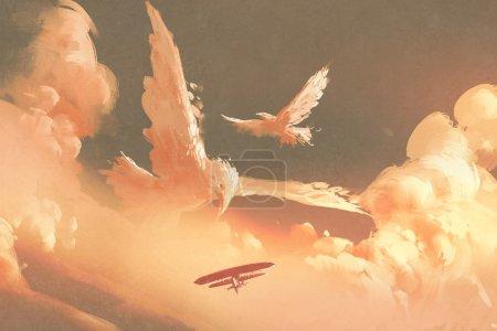 birds shaped cloud in sunset sky