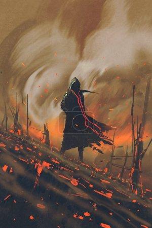 man in black cloak standing against burning forest