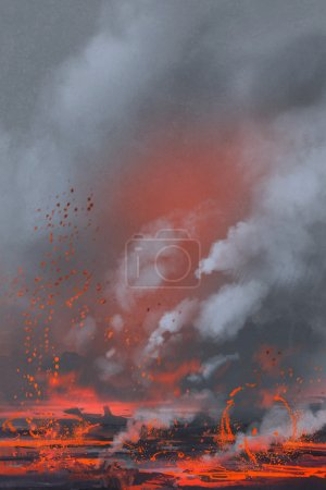 Volcano eruption,lava lake,landscape