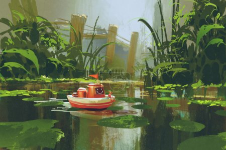 toy boat sailing on river in forest
