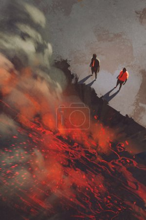 wo men standing at the edge of the volcanic rock cliff with lava