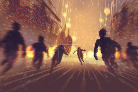 man running away from zombies,burning city in background