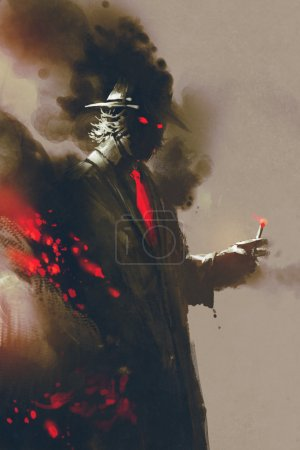 Photo for Mysterious man with hat holding a cigarette,illustration,digital painting - Royalty Free Image