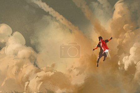 Photo for Boy flying in the cloudy sky with jet pack rocket,illustration painting - Royalty Free Image