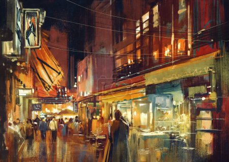 People walking in the market at night