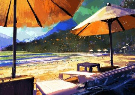 Sun umbrellas and loungers on beach