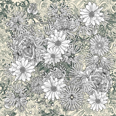 Foto de Patrones sin fisuras de flores, floral, monocromo de fondo sin fin - Imagen libre de derechos