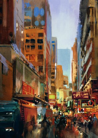 Photo for Urban street with buildings, city alleyway,colorful painting,illustration - Royalty Free Image