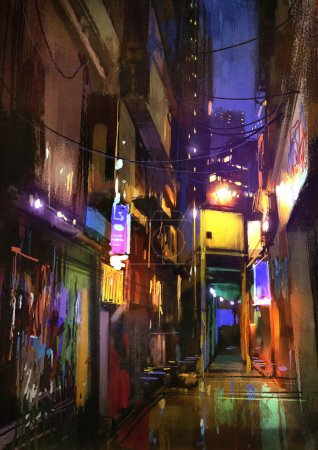 colorful painting of dark alley at night