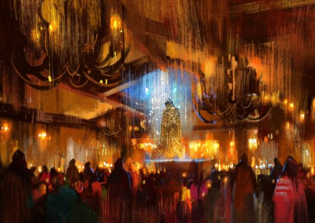 Photo for Crowd of people praying at holy night,illustration painting - Royalty Free Image
