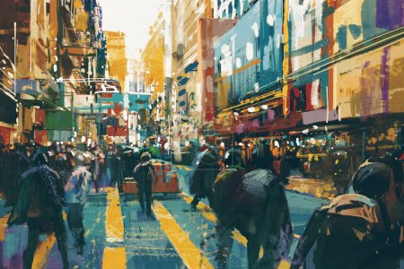 Photo for People walking in colorful of city street,illustration painting - Royalty Free Image