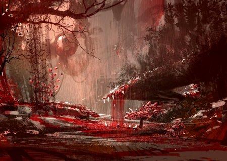 bloodyland,horror landscape,illustration