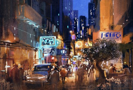 Photo for Colorful painting of night street,cityscape,illustration - Royalty Free Image