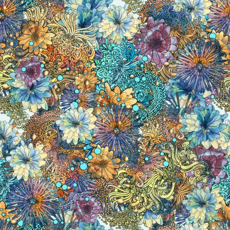 Photo for Seamless floral pattern,beautiful wallpaper with colorful flowers,watercolor - Royalty Free Image