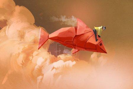 Foto de Chica cabalgando sobre el origami papel rojo de peces en las nubes, Ilustración pintura - Imagen libre de derechos