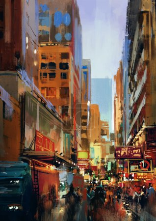 Colorful painting of city street