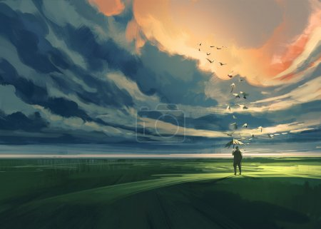 Photo for Painting of man holding an umbrella standing alone in the meadow watching at the cloudy horizon - Royalty Free Image