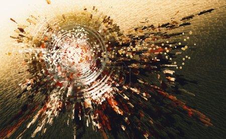 Photo pour Peinture numérique de fond abstrait cercle de haute technologie - image libre de droit