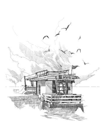 Photo pour Croquis approximatif de bateaux de pêche dans un port - image libre de droit