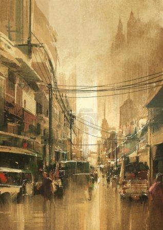 Photo pour Peinture de rue vue sur la ville dans un style rétro vintage - image libre de droit