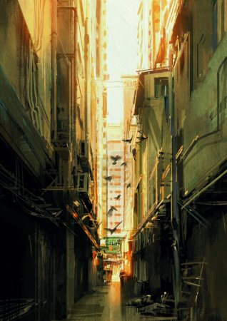 long narrow alleyway at sunset