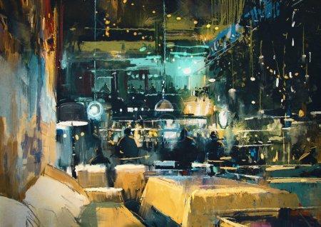 Photo pour Peinture montrant l'intérieur coloré du bar et du restaurant la nuit - image libre de droit
