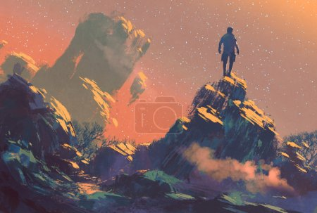 Man standing on top of the hill watching the stars