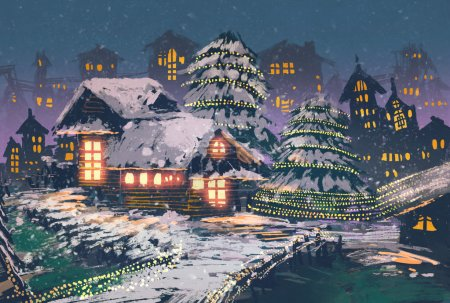Photo for Christmas night scene of wooden houses with a christmas lights,illustration painting - Royalty Free Image