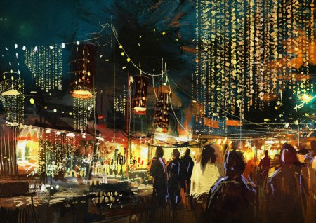shopping street city with colorful nightlife