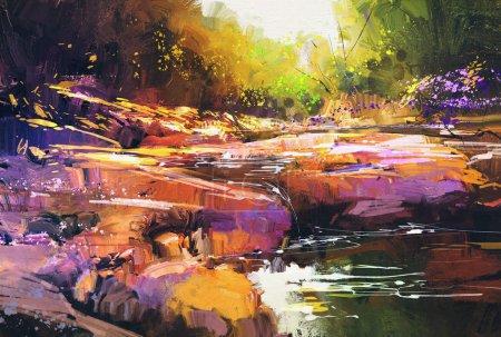 Photo pour Belles lignes de rivière d'automne avec des pierres colorées dans la forêt d'automne, peinture de paysage - image libre de droit