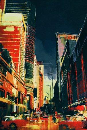 Photo pour Peinture colorée de rue de la ville avec des immeubles de bureaux, illustration - image libre de droit