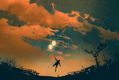 Photo for Man flying with balloon lights at sunset,illustration painting - Royalty Free Image