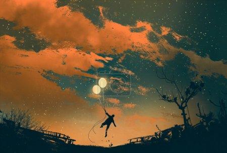 Photo pour Homme volant avec des lumières de ballon au coucher du soleil, illustration peinture - image libre de droit
