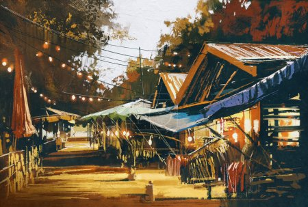 Photo pour Rue du marché traditionnel le soir, style peinture à l'huile - image libre de droit