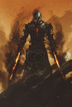 Photo for Warrior posing with fire flame swords on fire background,illustration painting - Royalty Free Image