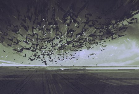 Photo for Attack of crows,man running away from flock of birds,illustration painting - Royalty Free Image