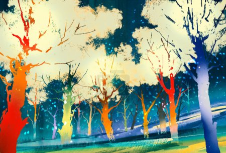 Photo for Fantasy forest with colorful trees,landscape digital painting - Royalty Free Image