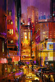 city night scene with colorful lights