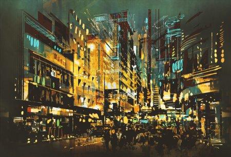 Photo pour Scène nocturne paysage urbain, peinture d'art abstrait - image libre de droit