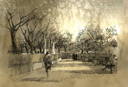 freehand sketch of city park walkway