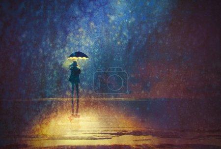 lonely woman under umbrella lights in the dark