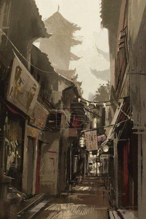 Photo pour Ruelle de Chinatown avec des bâtiments traditionnels chinois, illustration peinture - image libre de droit