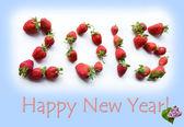 Vánoční přání nový rok s čísly s jahodami (roma