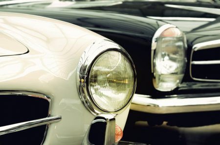 Headlights old cars in vintage style (good and evil, genesis, an